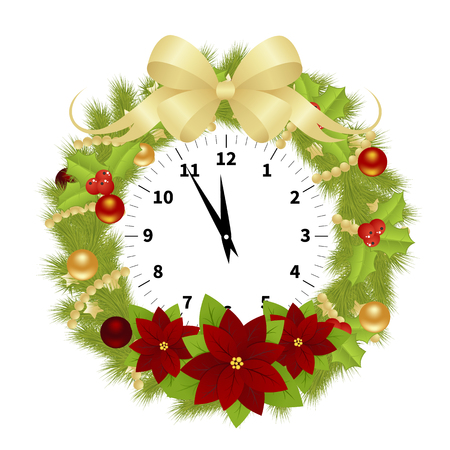 adorned: Adorned Clock With Branches of Christmas Tree, Balls and Hollyberries Showing the Christmas Time Isolated on White Background. Vector Illustration Illustration