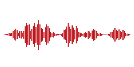 red sound: Red sound waves for party isolated on white background. Vector Illustration