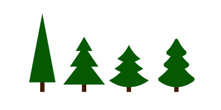 Christmas greenTrees icons set isolated on white background. Vector Illustration Illustration