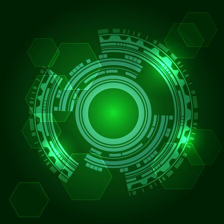 technical background: green technical background with shining abstract objects. Vector Illustration