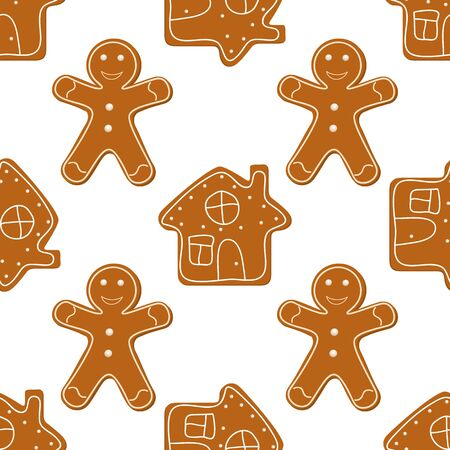 Christmas Seamless Background of Gingerbread Cookies on white background. Vector illustration