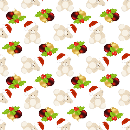 hollyberry: Christmas seamless with teddy bear and balls on white background.