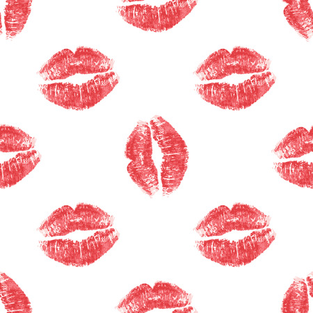 Seamless background red lips on white background