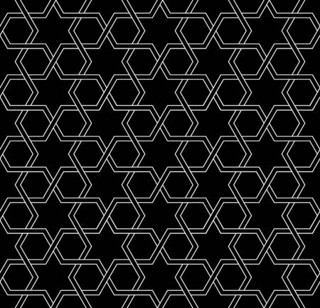 black and white: white and black mosaic moroccan zellige seamless. vector illustration