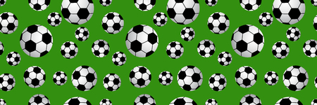 seamless of soccer balls on green background.