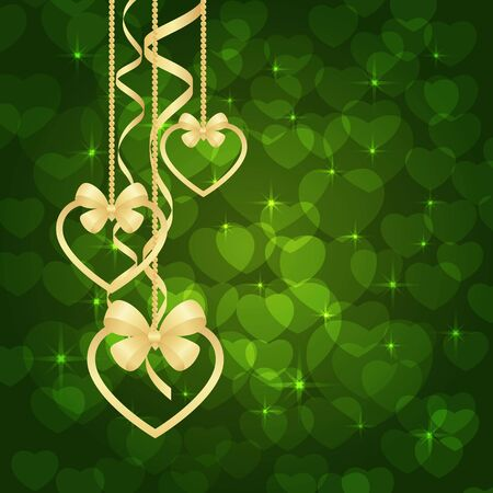 Wonderful Valentines background with Gold Hearts. Vector illustration