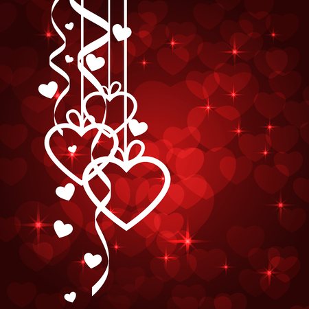 Amazing Valentines background with white Hearts. Vector illustration