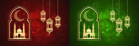 Set of two Ramadan greeting cards on red and green backgrounds. Illustration