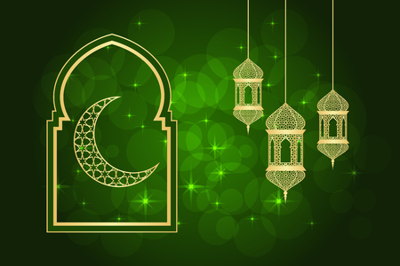 Ramadan greeting card green illustration with crescent on mosque and hanging lamp