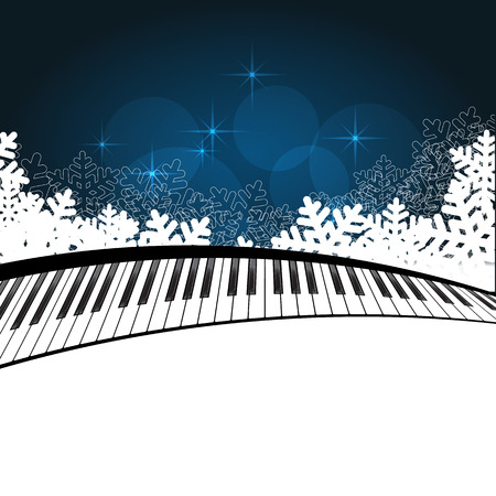 Christmas Template Piano on blue background. Vector Illustration