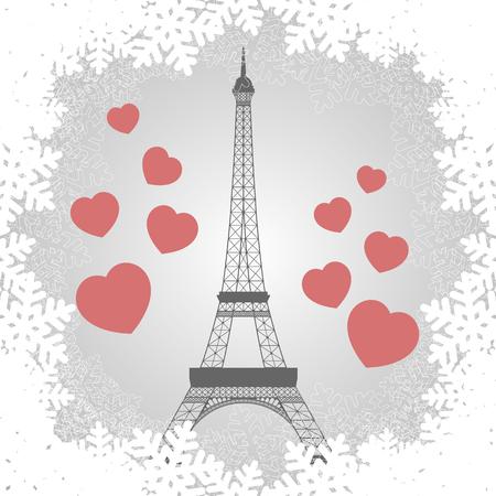 Christmas card with Eiffel tower