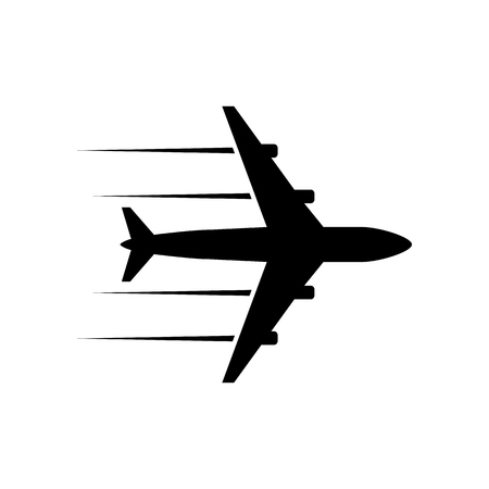 Black plane icon Stock fotó - 84643840