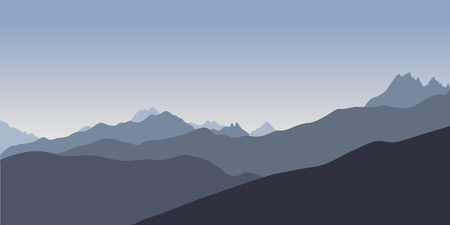 silhoette: Simple blue silhoette of mountains in the evening. Vector illustration Illustration
