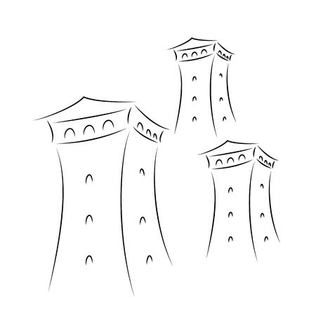 Famous svan towers in Svaneti, Georgia. Vector illustration