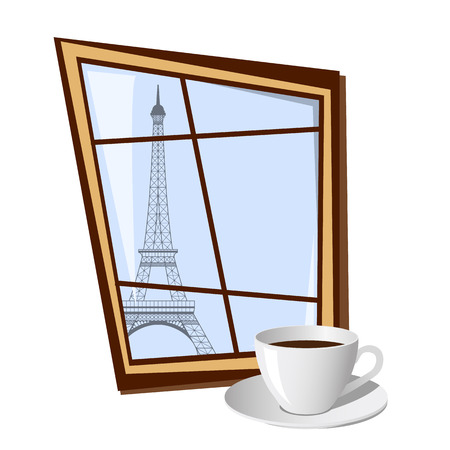 city building: Window with view on Eiffel tower outside isolated on white background. Vector illustration Stock Photo