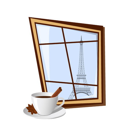 window view: Window with view on Eiffel tower outside isolated on white background. Vector illustration Stock Photo
