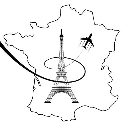 エッフェル塔と白い地図