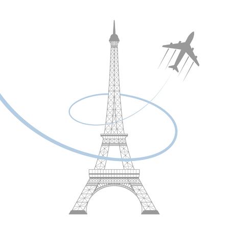エッフェル塔と白い背景の平面のアイコン。ベクトル図