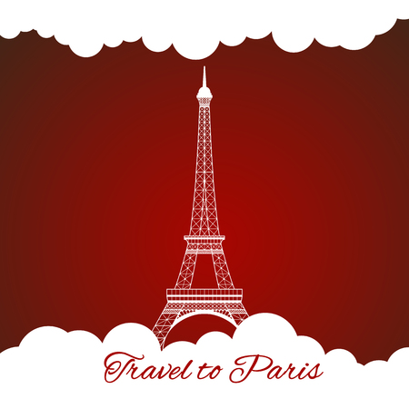 Icon of Eiffel tower on red background. Vector illustration