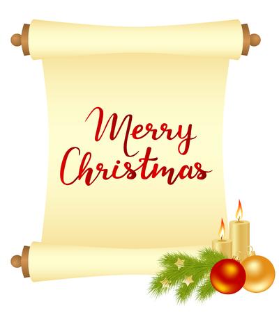 Carte de Noël joyeux avec des manuscrits et des décorations de Noël. Illustration vectorielle