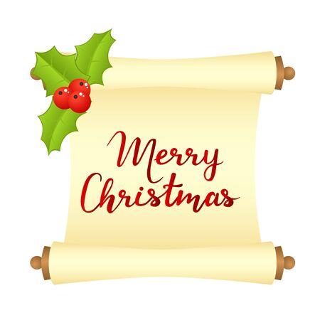 Carte de Noël joyeux avec des manuscrits et des décorations de Noël. Illustration vectorielle Vecteurs