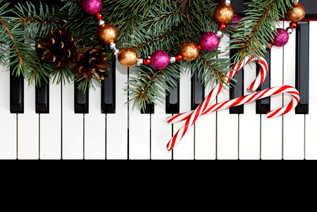 Christmas card with piano Stock Photo
