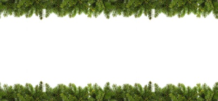Christmas tree branches on white background as a border or template for christmas card Stock Photo