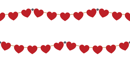 Red hearts garlands on white Vettoriali