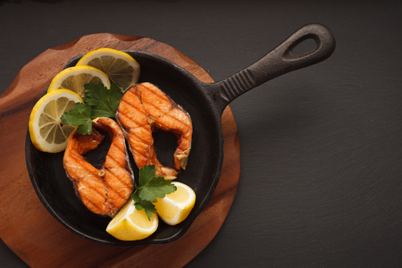 Fried or grilled salmon