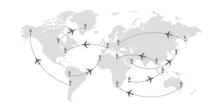 Wereldkaart en vliegtuigen