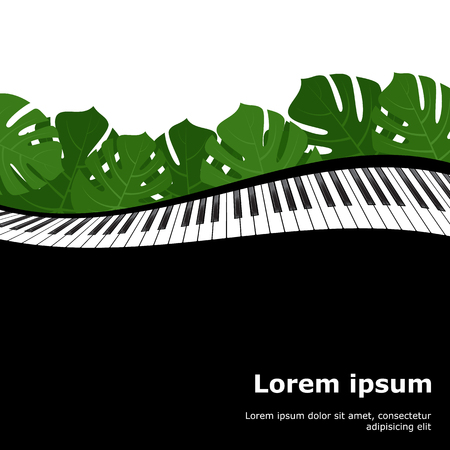 Piano keyboard with monstera leaves frame