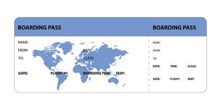 Blue boarding pass ticket