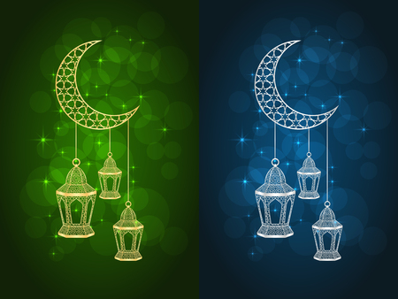 Set of two ramadan greeting cards on green and blue backgrounds. Vector illustration.