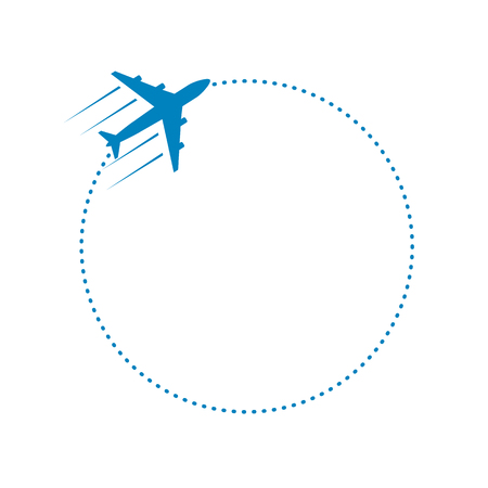 plane and its dotted round path on white background. Vector illustration. 矢量图像