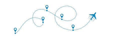 avion et son chemin en pointillé sur fond blanc. Illustration vectorielle.