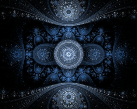 Abstract blue fractal julian on black background Stock Photo