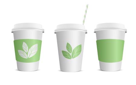 Vector realistic blank paper coffee cup isolated on white. Vector illustration. Vektoros illusztráció