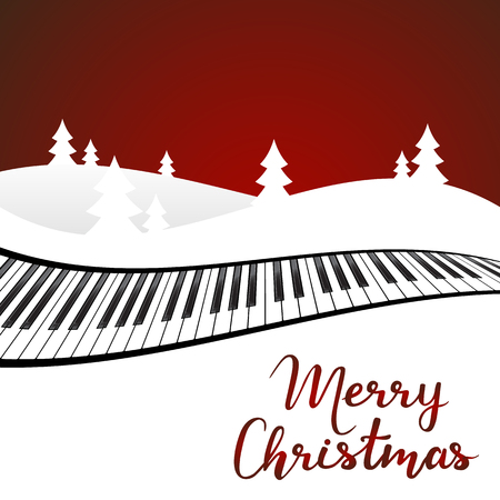 Merry Christmas card with winter landscape on red background. Vector illustration