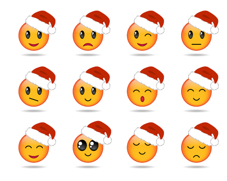set of yellow emojis or emoticons for christmas holidays isolated on white background. Vector illustration