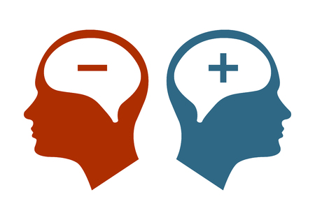 Head icon for bipolar disorder flat design. Vector illustration