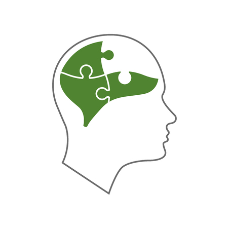 Head icon for mental health flat design. Vector illustration