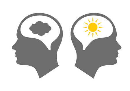 Head icon for bipolar disorder flat design. Vector illustration