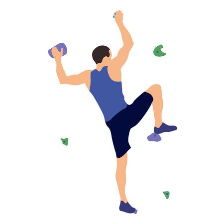 Mężczyzna wspina się po ściance wspinaczkowej w siłowni wspinaczkowej na białym tle na białym tle. Ilustracja wektorowa. Ilustracje wektorowe