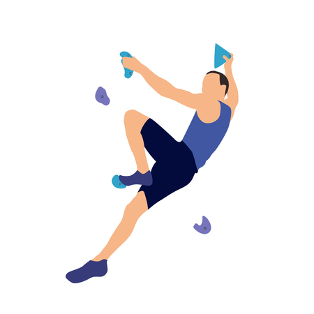 Man climbs on a climbing wall in a climbing gym isolated on a white background. Vector illustration. Illustration