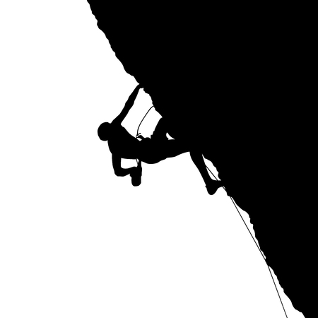 Black silhouette of a climber on a cliff isolated on a white background. Vector illustration Фото со стока - 110201647