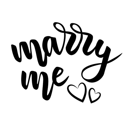 Lettering marry me and hearts isolated on white background. Brush calligraphy, Vector illustration.