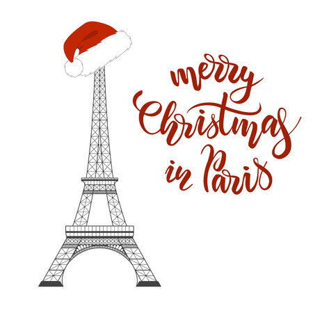 Merry Christmas in Paris lettering and Eiffel Tower with a red Santa hat on white background. Vector illustration Illustration