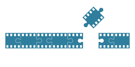 Blank blue film frame stock as set of jigsaw pieces. Flat vector illustration