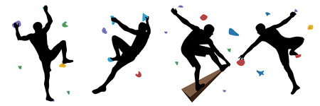 Black silhouettes of men who climb on a wall in a climbing gym isolated on a white background. Vector illustration.