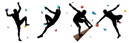 Czarne sylwetki mężczyzn, którzy wspinają się na ścianie w siłowni wspinaczkowej na białym tle na białym tle. Ilustracja wektorowa.